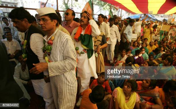 Demonstrations Protests Price Rise BJP leaders Gopinath Munde and Nitin Gadkari during a rally organised by BJP city unit to protest against the...