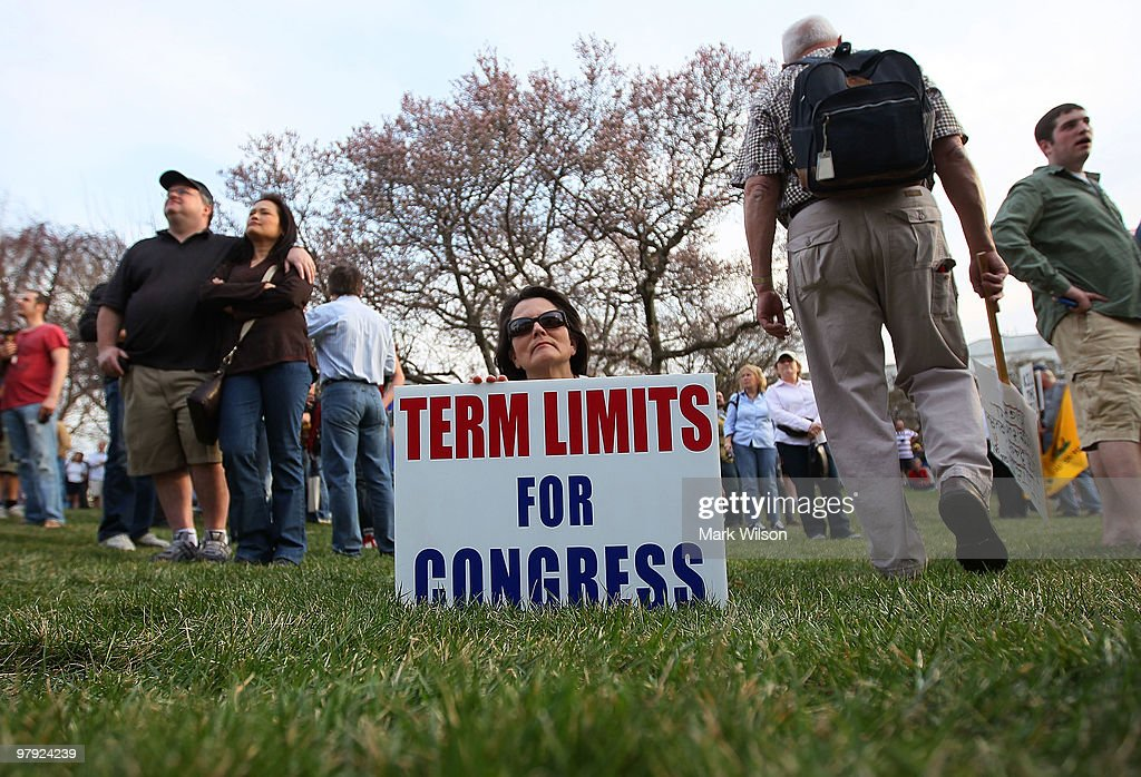 Demonstrator Cathy Trauernicht of Potomac, Maryland, holds a sign that reads 'Term Limits For Congress' during a protest in front of the House side of the US Capitol on March 21, 2010 in Washington, DC. Later tonight the House is scheduled to vote on Health Care Legislation that has divided both sides of Congress.