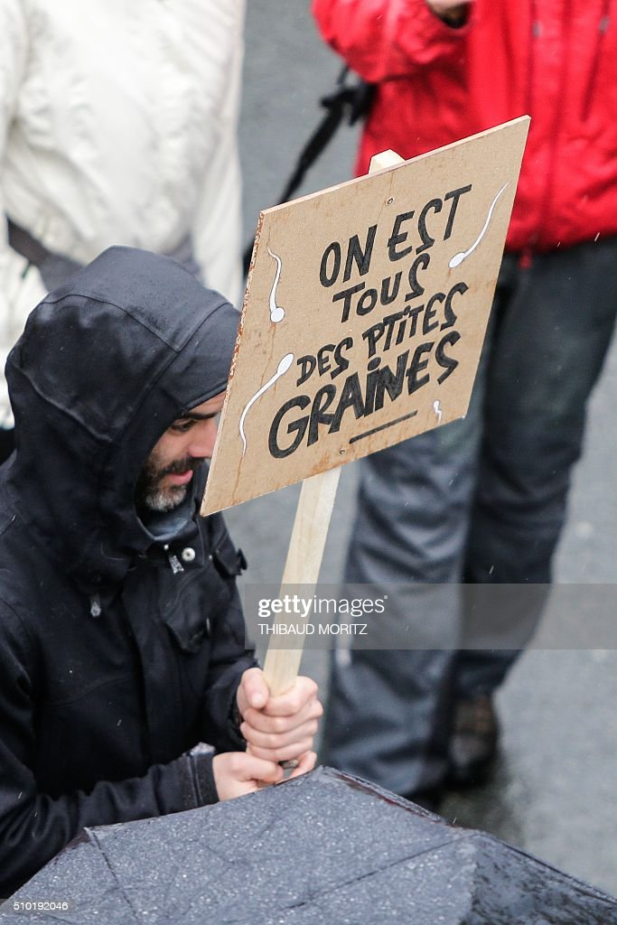 A demonstrator holds a banner reading 'we are all small seeds' on February 14, 2016 in Bordeaux, southwestern France, during a demonstration against pesticides and GMOs (genetically modified organisms). / AFP / Thibaud MORITZ