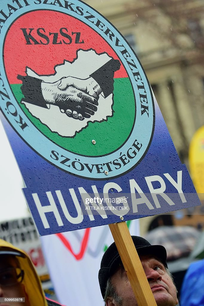 A demonstrator holds up a poster with the logo of the Alliance of civil service unions as teachers, parents and their sympathizers rally against the Hungarian government's education policy in front of the parliament building in Budapest on February 13, 2016. / AFP / ATTILA KISBENEDEK