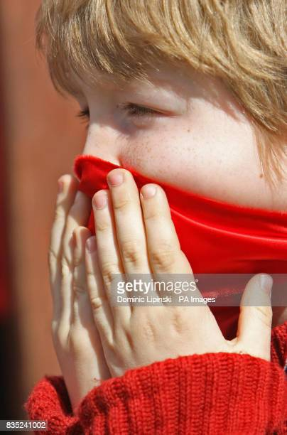 Demonstrator Jack CunninghamNuttall wears a red gag over his mouth as part of a protest at Piccadilly Circus London against Justice Secretary Jack...