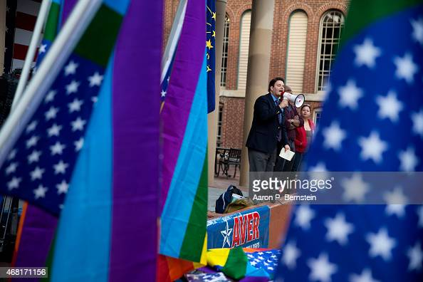 Demonstrator JD Ford speaks outside the City County Building on March 30 2015 in Indianapolis Indiana The group called on the state house to roll...