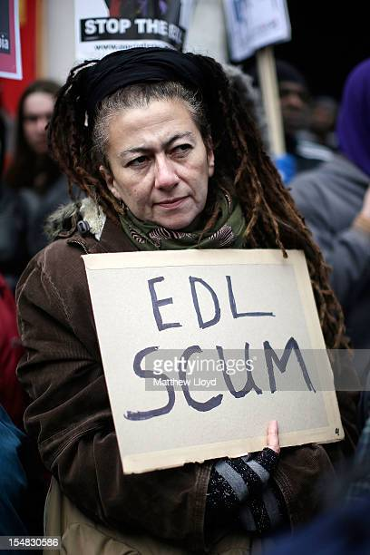 A demonstrator rallies to protest against the farright English Defence League in Walthamstow on October 27 2012 in London England The EDL had wished...