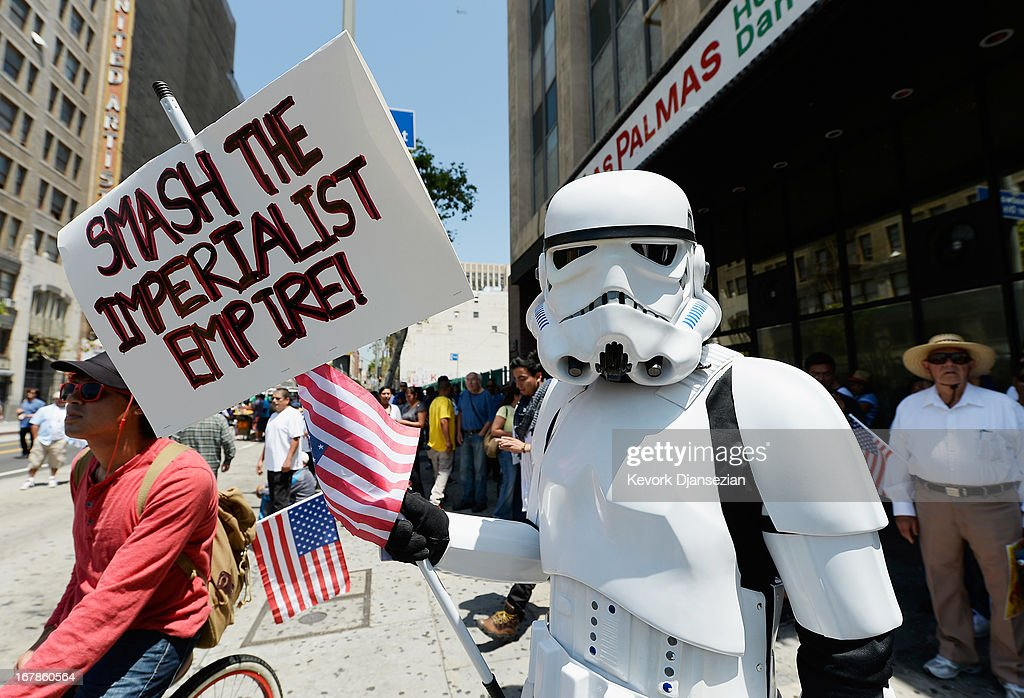 A demonstrator wearing a Star Wars storm trooper uniform participates with thousands of people in May Day march and rally on May 1, 2013 in Los Angeles, California. Labor organizations and immigration groups used the annual celebration to push for an immigration system overhaul.