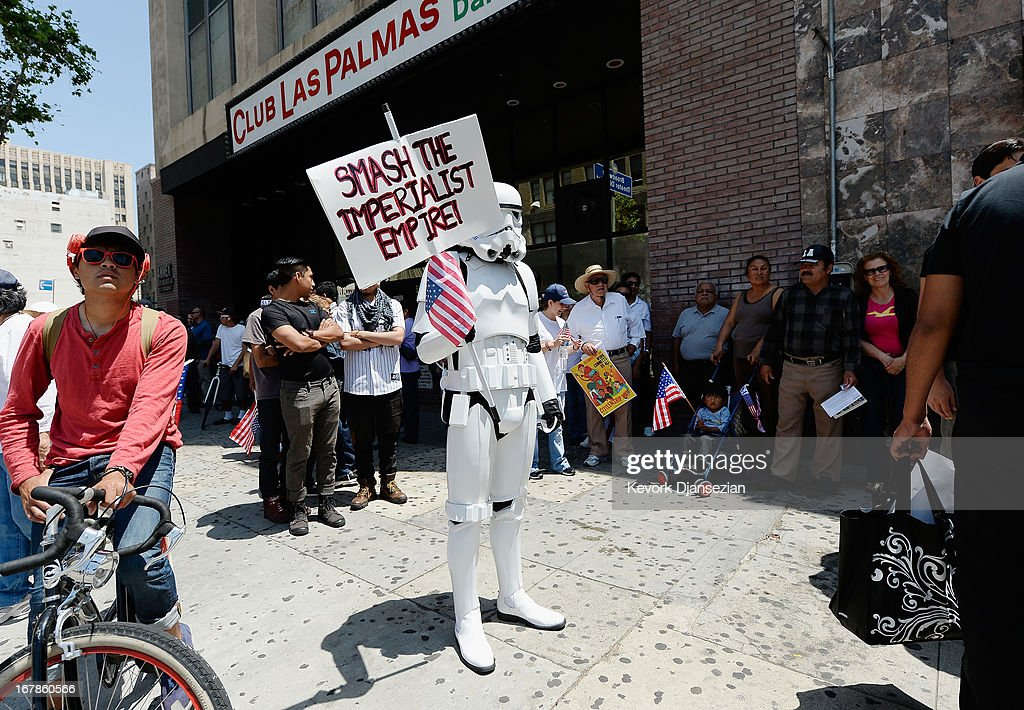 A demonstrator wearing a Star Wars storm trooper uniform participates with thousands of people in the May Day march and rally on May 1, 2013 in Los Angeles, California. Labor organizations and immigration groups used the annual celebration to push for an immigration system overhaul.