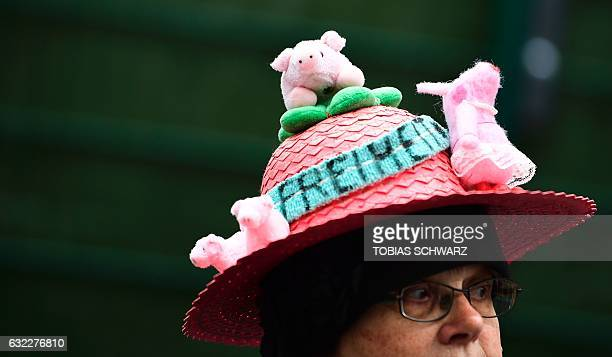 A demonstrator wears a hat with toy pigs and the inscription 'freeedom' during a farmer's protest in the center of Berlin against the...