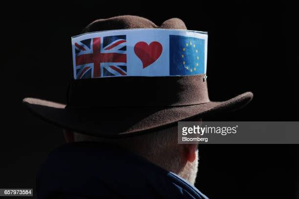 A demonstrator wears a proEU trilby hat during a Unite for Europe march to protest Brexit in central London UK on Saturday March 25 2017 UK Prime...