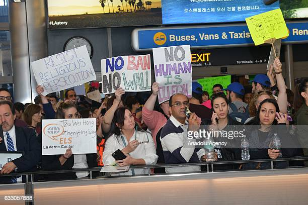 Demonstrators against President Donald Trump's Muslim Ban come together at 2nd Day of protests at Los Angeles International Airport in Los Angeles...