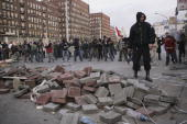 Demonstrators amass pavement stones and other debris to battle police during violent street protests on October 23 2006 in Budapest Hungary The...