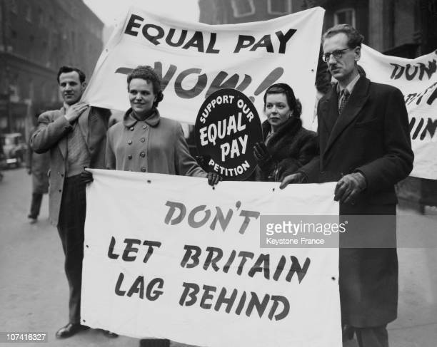 Demonstrators At The Equal Pay Day Campaign In London On February 16Th 1954