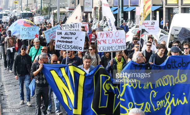 Demonstrators attend a protest against the G7 Meeting of Interior Ministers takes place in Ischia
