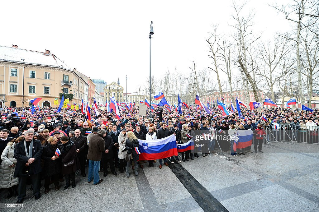 Demonstrators attend on February 8, 2013 a pro-government rally in central Ljubljana organised by the Assembly for the Republic in support of Prime Minister Janez Jansa. Slovenia's political crisis escalated on February 5 as a second partner left Prime Minister Janez Jansa's shaky coalition after he rejected the party's call to resign.