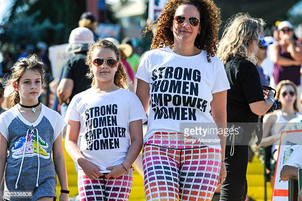 Demonstrators attend the rally at the Women's March at Bayfront Park Amphitheater on January 21 2017 in Miami Florida