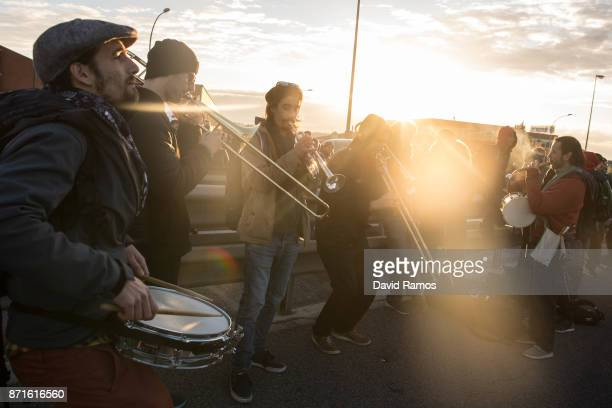 Demonstrators block a highway during a regional strike on November 8 2017 in Barcelona Spain ProIndependence Unions and associations called for a...