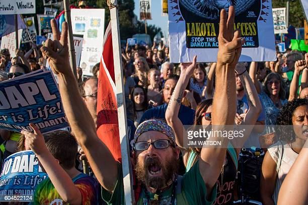 Demonstrators chant as they gather in front of the White House in Washington DC on September 13 to protest the Dakota Access Pipeline The US...