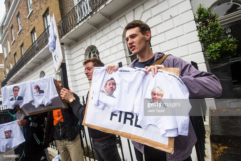 Demonstrators chant as they wave underwear and placards with the words 'Liar Liar Pants On Fire' written on them outside the home of former London Mayor Boris Johnson on July 1, 2016 in London, England. Mr Johnson backed out of the Conservative Leadership contest yesterday after his ally and supporter Justice Secretary Michael Gove announced he too would run. Home Secretary Theresa May is now leading the race to head the Conservative Party that could lead to becoming Prime Minister.