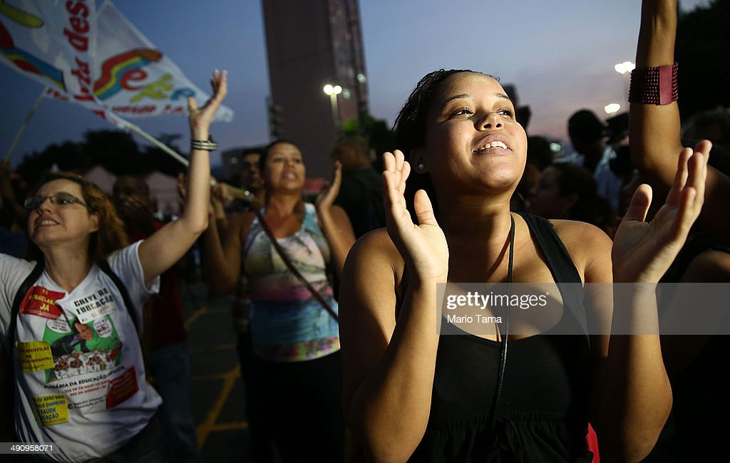 Demonstrators chant at a protest against the upcoming 2014 World Cup on May 15, 2014 in Rio de Janeiro, Brazil. Anti World Cup demonstrations were held across the country today.