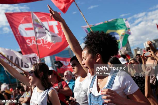 Demonstrators chant during a protest against Brazilian President Michel Temer and government corruption at Largo da Batata in Sao Paulo Brazil on...