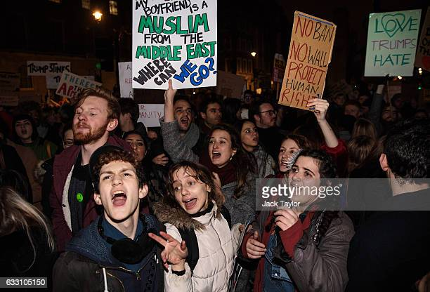 Demonstrators chant during a protest outside Downing Street against US President Donald Trump's ban on travel from seven Muslim countries on January...