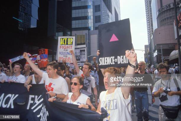 Demonstrators chanting at AIDS rally New York City New York