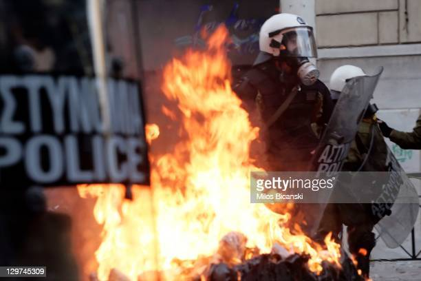 Demonstrators clash with police during a protest against plans for new austerity measures on October 20 2011 in Athens Greece On the second day of a...