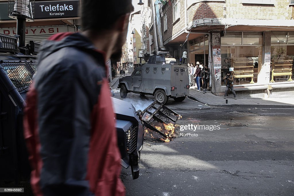 Demonstrators clashed with police in Okmeydan, Istanbul, Turkey, on 1st May 2016 during the May Day rally,