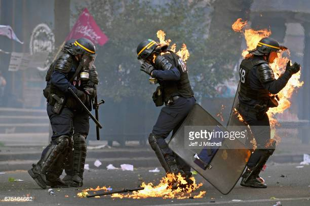 Demonstrators confront police on the annual May Day worker's march on May 1 2017 in Paris France Police dealt with violent scenes in central Paris...