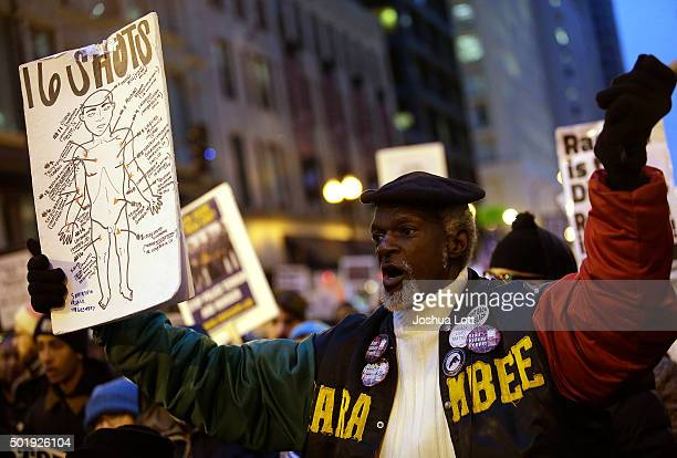 Demonstrators continue to protest the fatal police shooting of Laquan McDonald December 18 2015 in Chicago Illinois Former Chicago police officer...