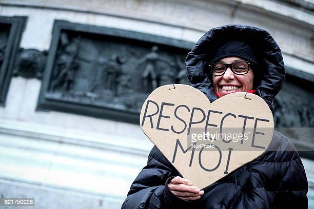 Demonstrators during a protest for equal pay between men and women in Paris France on November 7 2016 Some 200 to 300 people of all ages incuding men...