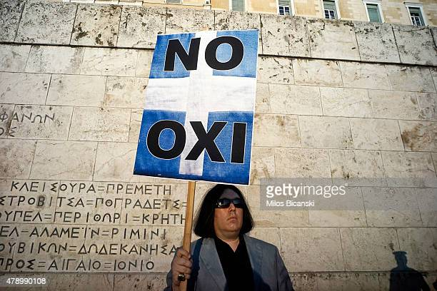 Demonstrators during a rally in Athens Greece 29 June 2015 Greek voters will decide in a referendum next Sunday on whether their government should...