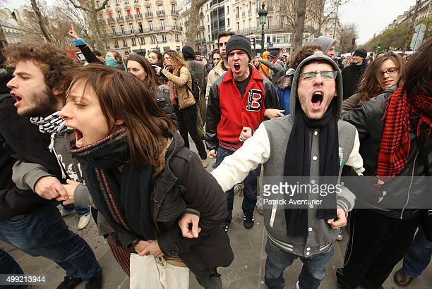 Demonstrators fight with police during the forbidden COP21 demonstration on November 29 2015 in Paris France The demonstration was banned after the...