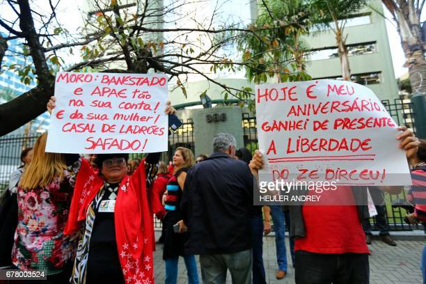 Demonstrators for and against the release from prison of former Brazilian chief of staff during the Lula da Silva administration Jose Dirceu...