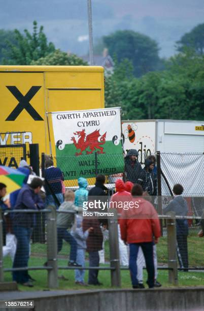 Demonstrators from Gwrth Apartheid Cymru protest against South African athlete Zola Budd at the HFC United Kingdom Athletics Championships in Cwmbran...