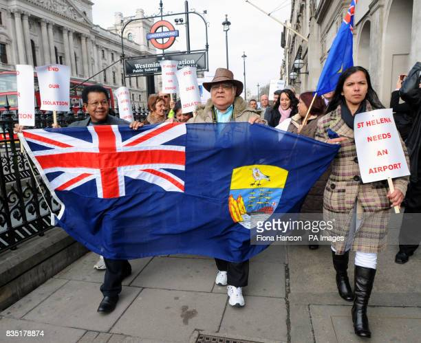 Demonstrators from the island of St Helena campaign in Westminster against the delay by the UK Government in granting funding for an airport on the...