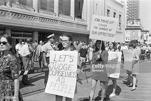 Demonstrators from the National Women's Liberation Movement picket the 1968 Miss America Pageant
