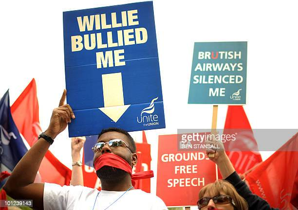 Demonstrators from the Unite Union protest in favour of striking British Airways cabin crew on the fifth day of a fiveday strike in London on May 28...