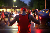 Demonstrators gather along West Florissant Avenue to protest the shooting of Michael Brown on August 15 2014 in Ferguson Missouri Brown was shot and...