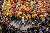 Demonstrators gather around a ballot box during a ProIndependence demonstration as part of the celebrations of the National Day of Catalonia on...