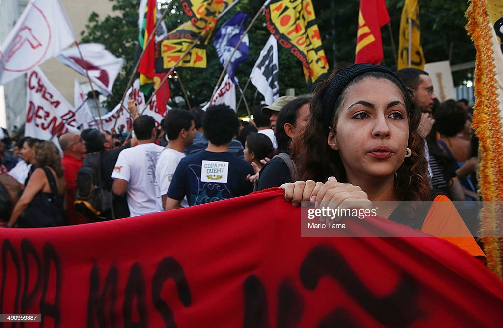 Demonstrators gather at a protest against the upcoming 2014 World Cup on May 15, 2014 in Rio de Janeiro, Brazil. Anti-World Cup demonstrations were held across the country today.