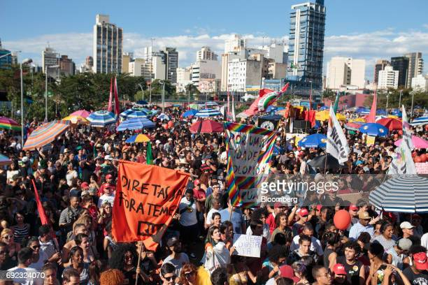 Demonstrators gather during a protest against Brazilian President Michel Temer and government corruption at Largo da Batata in Sao Paulo Brazil on...