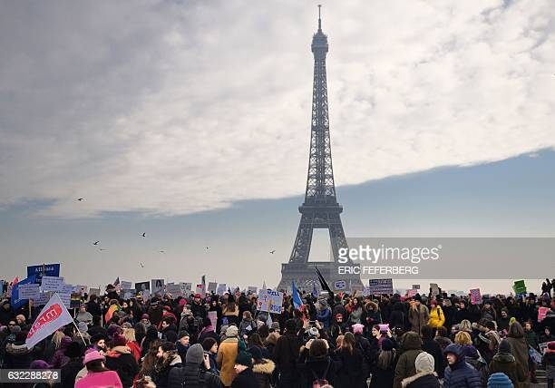 Demonstrators gather for a rally in solidarity with supporters of the Women's March in Washington and many other cities on January 21 2017 at the...