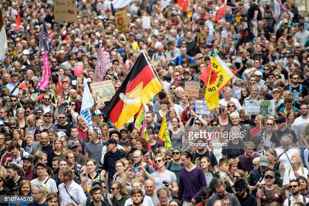 Demonstrators gather for 'Grenzenlose Solidaritaet statt G20' during a protesters march against the G20 Summit on July 8 2017 in Hamburg Germany...