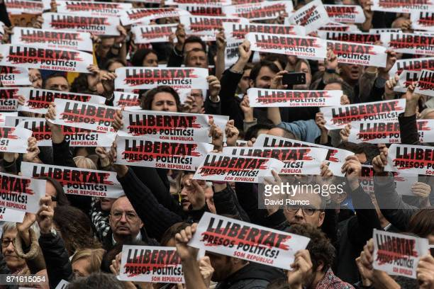 Demonstrators gather in front of the Catalan Government building Generalitat de Catalunya during a regional strike on November 8 2017 in Barcelona...