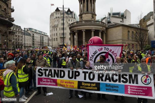 Demonstrators gather in Portland Place in central London ahead of 'March Against Racism' towards Parliament Square to defend EU migrants right to...