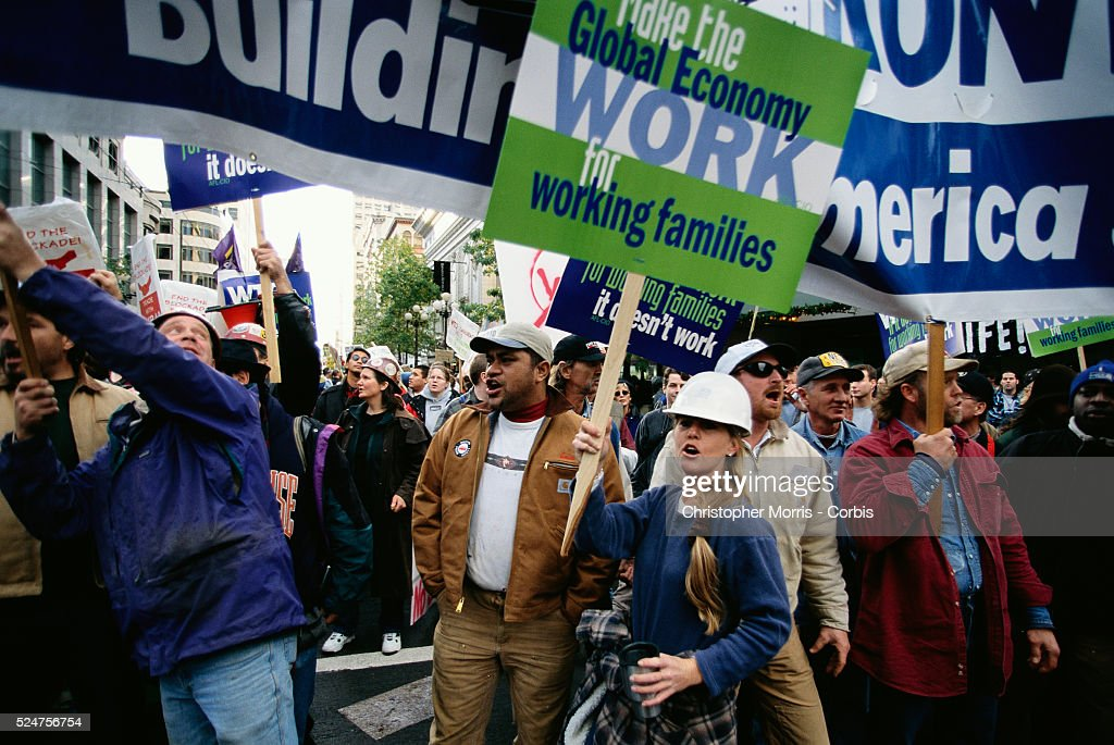 Demonstrators gather to protest the World Trade Organization during their 1999 conference in Seattle What started out as a peaceful protest turned...
