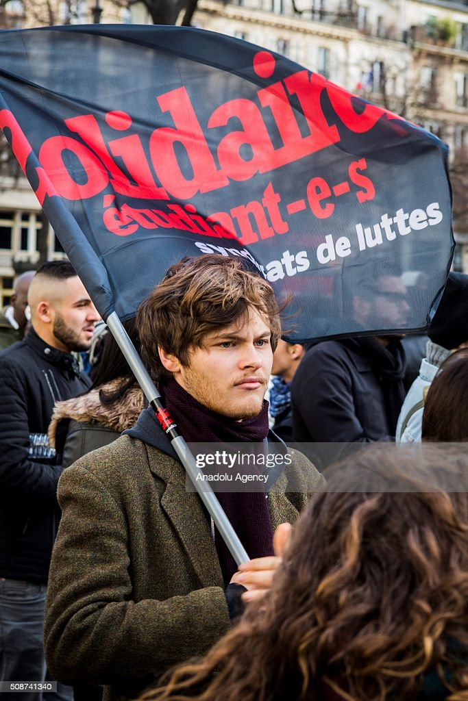 Demonstrators gathered at Fontaine des Innocents protest against extreme right, 'Islamophobia' and all forms of racism in Paris, France on February 6, 2016.
