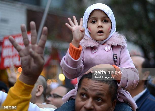 Demonstrators gathered in front of Egyptian Consulate stage a demonstration in support of Mohamed Morsi on November 2 2013 in New York City Egypt's...