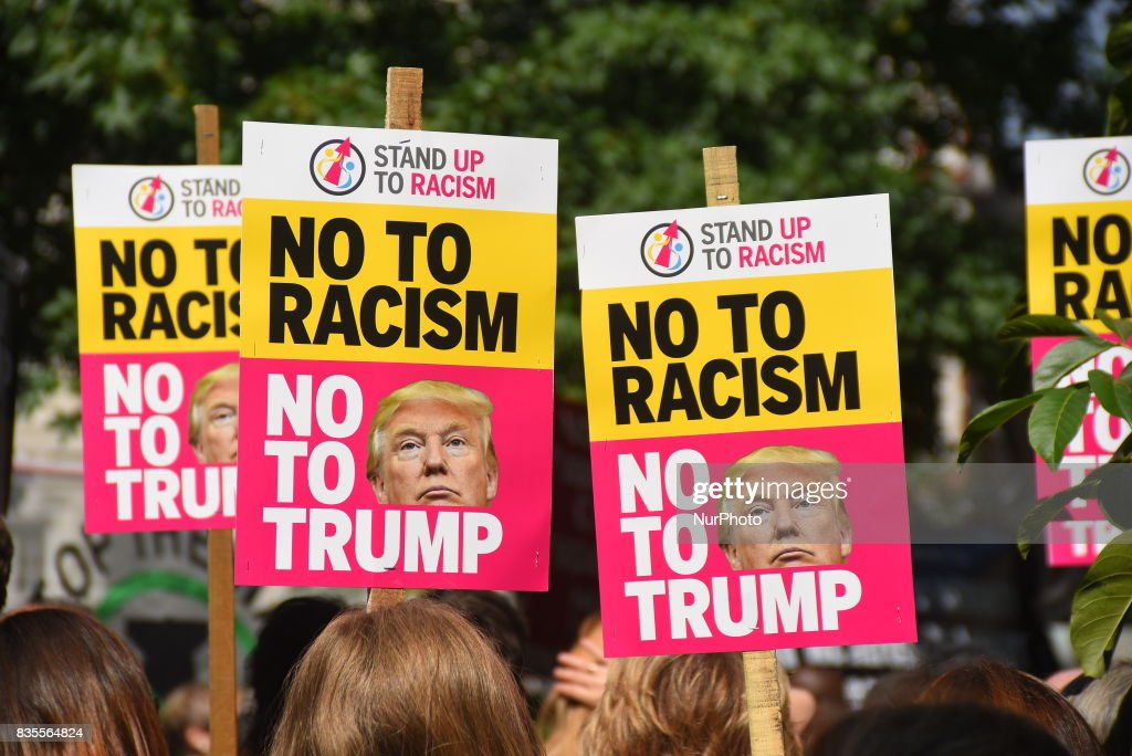 Demonstrators gathered outside the American Embassy in Central London, to protest against the racism escalation following the riot in Charlottesville, London on August 19, 2017. In Charlottesville, Virginia, took place the most violent clashes at the largest gathering of white nationalists in America for decades. President Donald Trump has been criticized for his reaction, considered too soft.