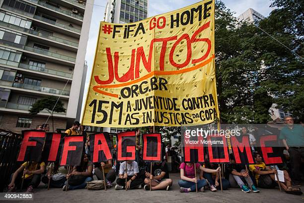 Demonstrators held a protest against the World Cup FIFA soccer on the afternoon of Thursday May 15 2014 in Sao Paulo Brazil Protests are taking place...