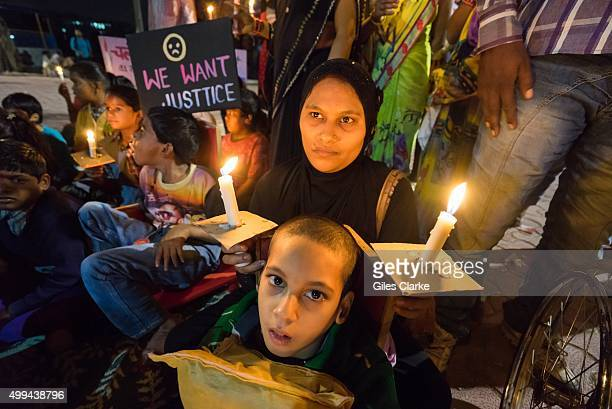 Demonstrators hold a candlelight vigil on December 1 in Bhopal India to mark the 31st anniversary of the 1984 Union Carbide gas leak that killed...